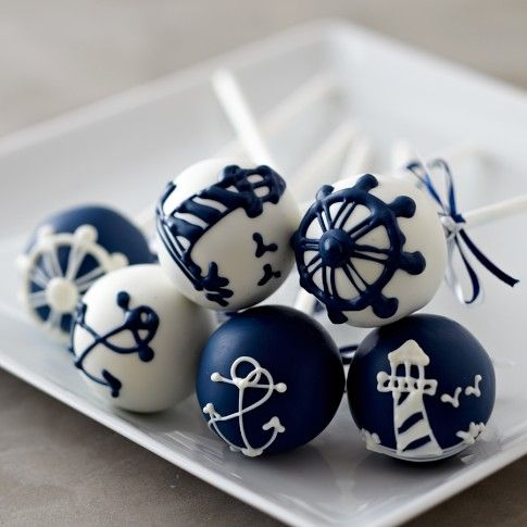 Nautical Summer Cake Pops - would be great favors for rehearsal dinner - sweet lauren cake pops, also come in orange