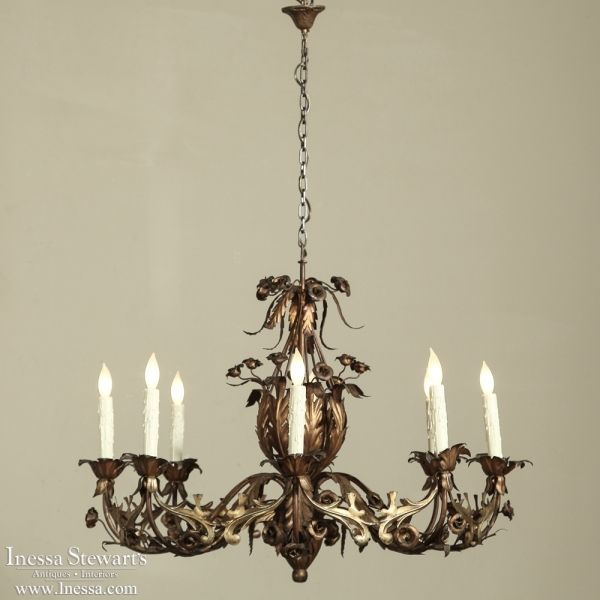 Antique Lighting | Antique Chandeliers | French Design Mid-Century Wrought  Iron Painted Chandelier | - 258 Best Antique Lighting Images On Pinterest Antique Chandelier