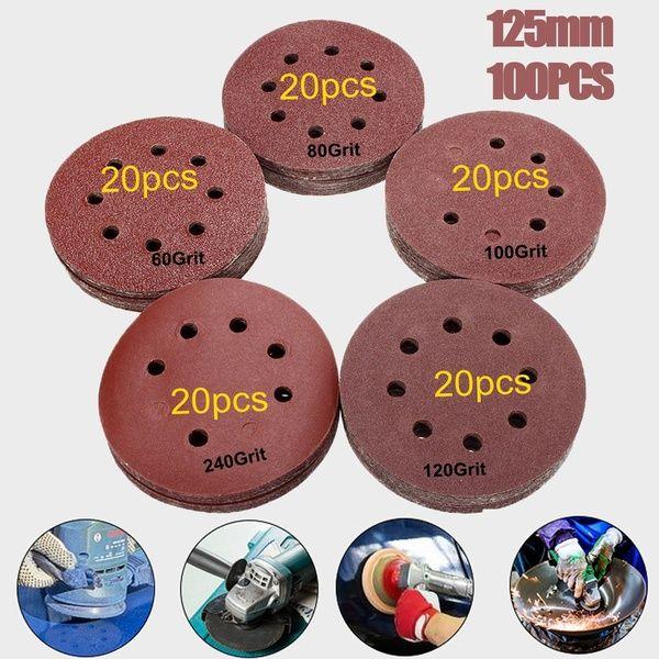 100pcs 125mm 5 Orbit Sanding Polishing Sheet Sandpaper Round Shape Sander Velcro Discs Mixed 60 80 100 120 240 Grit Polish Pad Sandpaper Car Tools Artificial Stone