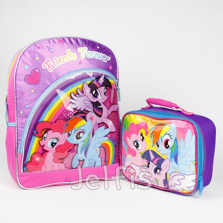 my little pony large backpack and lunch box set rainbow. Black Bedroom Furniture Sets. Home Design Ideas