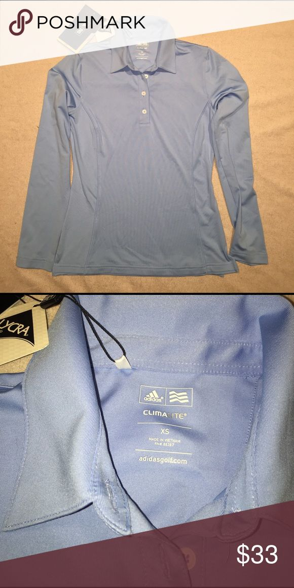 Adidas Golf Long Sleeve Polo Climalite. Protects from uv rays while keeping you cool. Baby Blue color. Castlewood Country Club logo on left sleeve, adidas logo on the back of neck Adidas Tops