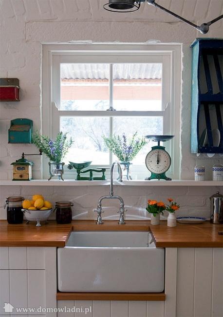 Butcher block counter w farmhouse sink kitchen pinterest