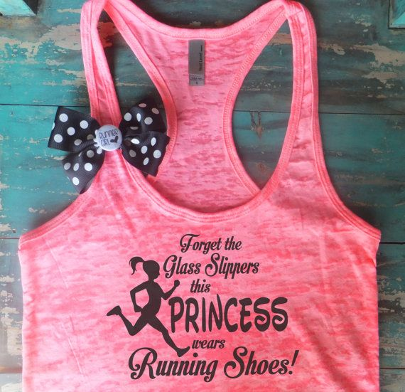 Cute Bow Running Tanks! Forget the Glass Slippers this Princess wears Running Shoes.