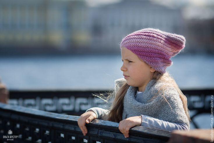 Купить Схема вязания шапки Бини по диагонали - схема вязания, связать шапку