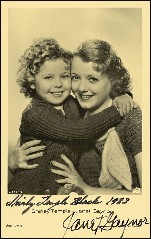 Shirley Temple & Janet Gaynor Preprinted Signed Photos Pictures NEW Preprints.