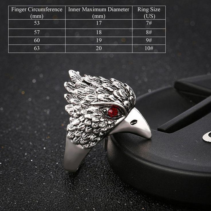 Fashion Retro Antique Silver Finger Ring Cool Eagle Head Sales Online 10 - Tomtop.com
