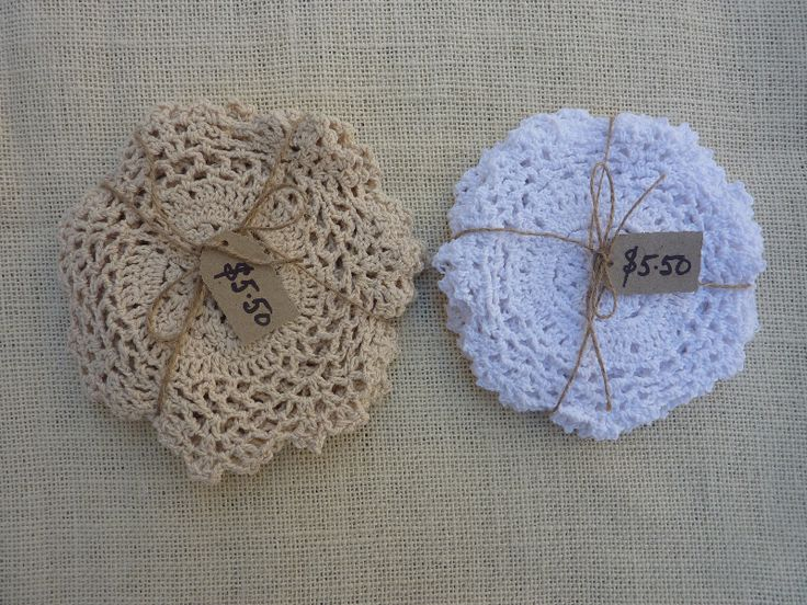 Flower Doilies White and Beige 5 -$5.50