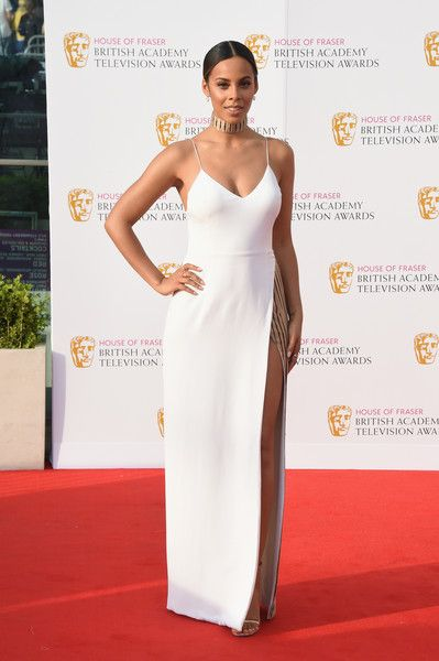 Rochelle Humes Evening Dress - Rochelle Humes turned up the heat in a white spaghetti-strap, high-slit gown by Marco Capaldo at the House of Fraser BAFTA TV Awards.