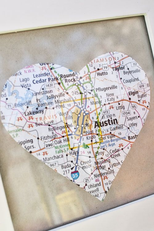 Find your favorite places on a map and cut them into a heart then turn them into coasters.