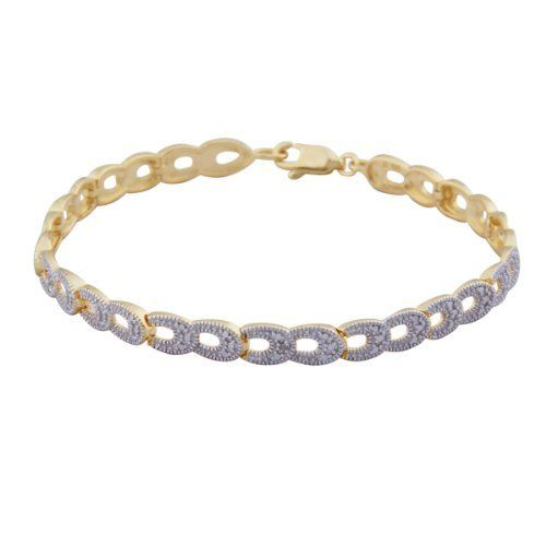 """18k Yellow Gold Plated Sterling Silver Diamond Accent Open Link Bracelet, 7.25"""" Amazon Curated Collection. $49.00. This bracelet is crafted from 18 karat yellow gold and measured 7 25"""" in length. Made in China. Two-tone effect enhances sparkle"""
