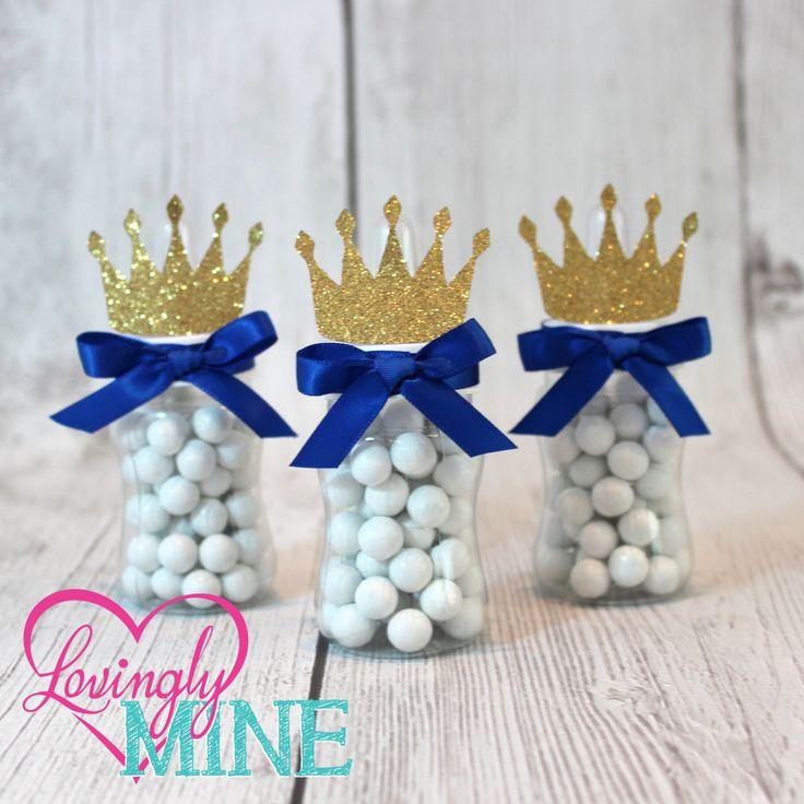 Little Prince Baby Bottle Favors in Royal Blue & Glitter Gold - Set of 12 - Baby Shower by LovinglyMine on Etsy
