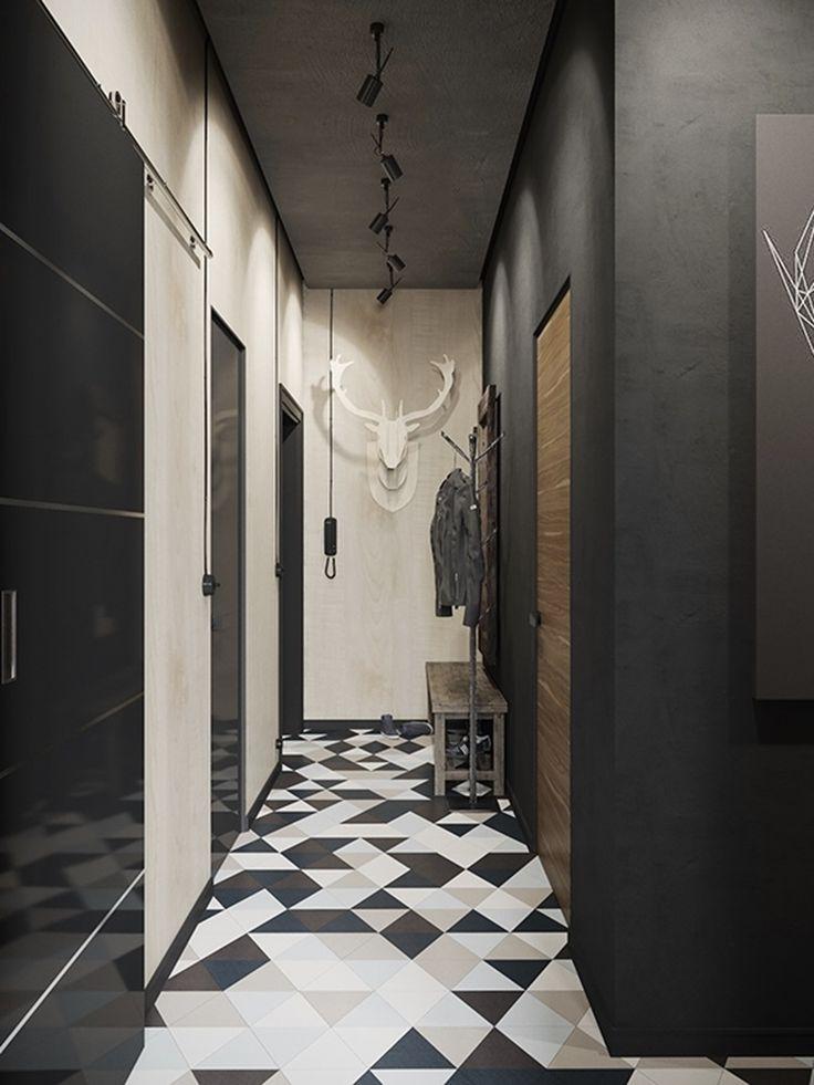 Эта современная, в промышленном стиле, квартира разработана русским дизайнером Денисом Красиковым. Квартира расположена в Мурманске, Россия