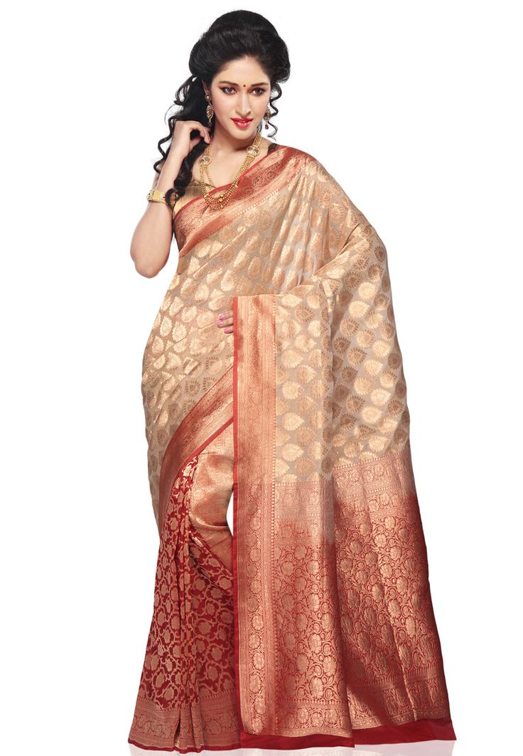 Beige and red  http://www.utsavfashion.com/saree/light-beige-and-red-pure-banarasi-silk-georgette-saree-with-blouse/shr114-itemcode