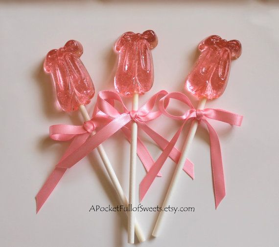 12 BALLERINA Party SLIPPERS Shoes Barley Sugar Hard Candy Lollipops Suckers Birthday Party Favors Gifts on Etsy, $19.99