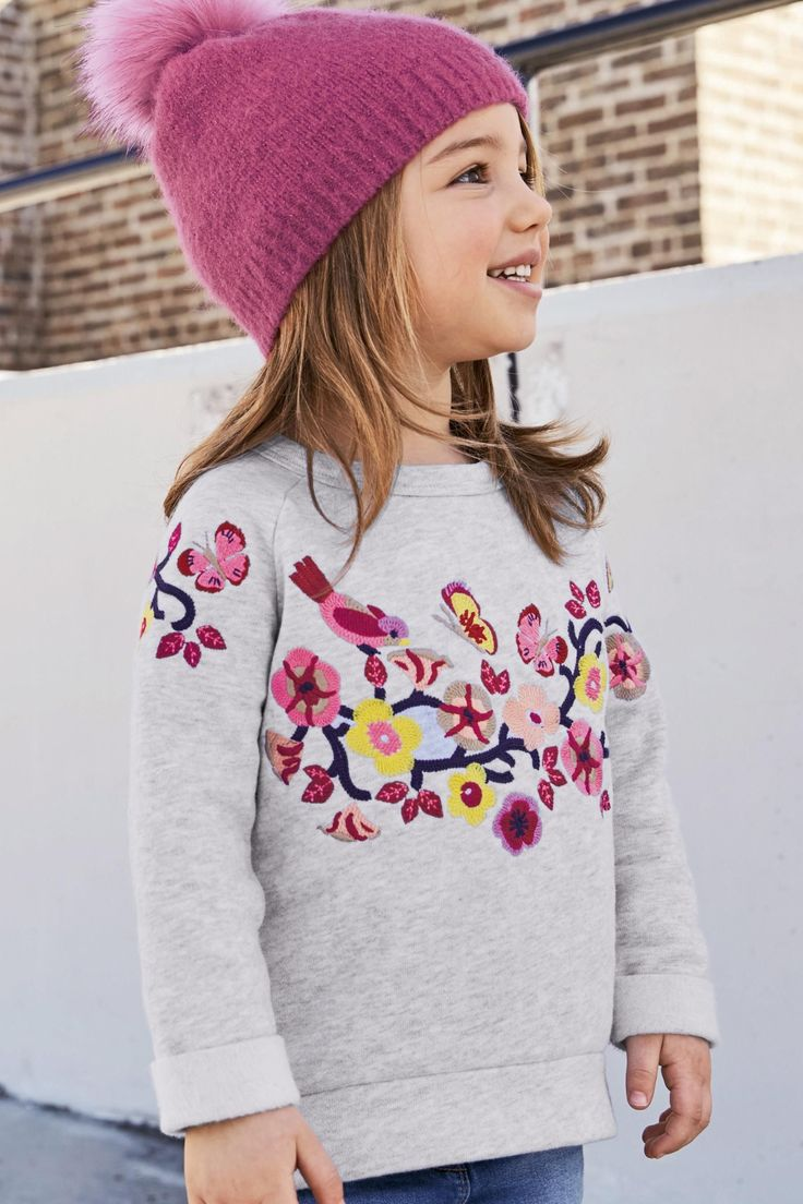 Buy Grey Flower Crew (3mths-6yrs) from the Next UK online shop