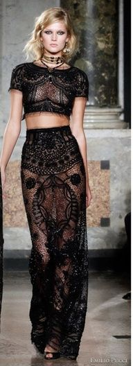 Pucci: Black Lace, Emilio Pucci, Lace Tops, Fashion Clothing, Crop Tops, Couture Dresses, Great Gifts, Lace Dresses, Emiliopucci