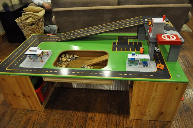 This is made from a train table, but I am thinking of converting an old coffee table for this!!