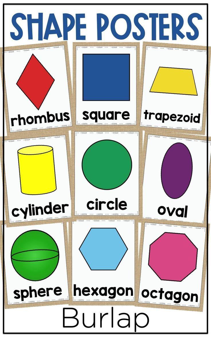 Burlap Shape Posters Shape Posters 3d Shape Posters Fun Math Activities [ 1177 x 736 Pixel ]
