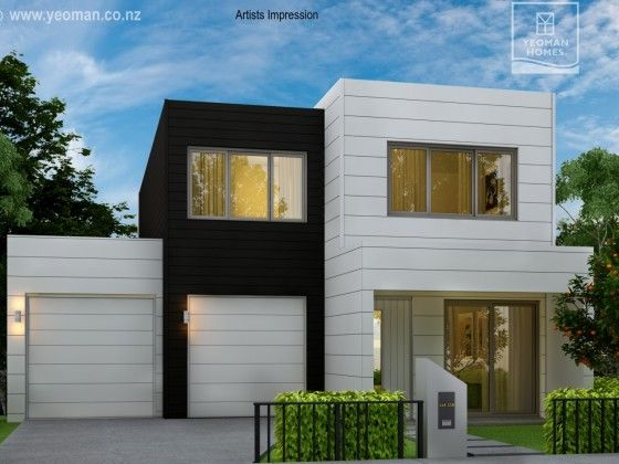 Yeoman Homes Hamilton NZ 2 storey home Rototuna. Parapet, with sloping roof in behind. Modern / Contemporary