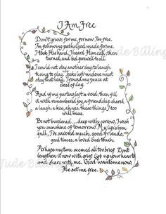 Calligraphy Sympathy Poem 'I Am Free' by CalligraphicArtisan, $20.00