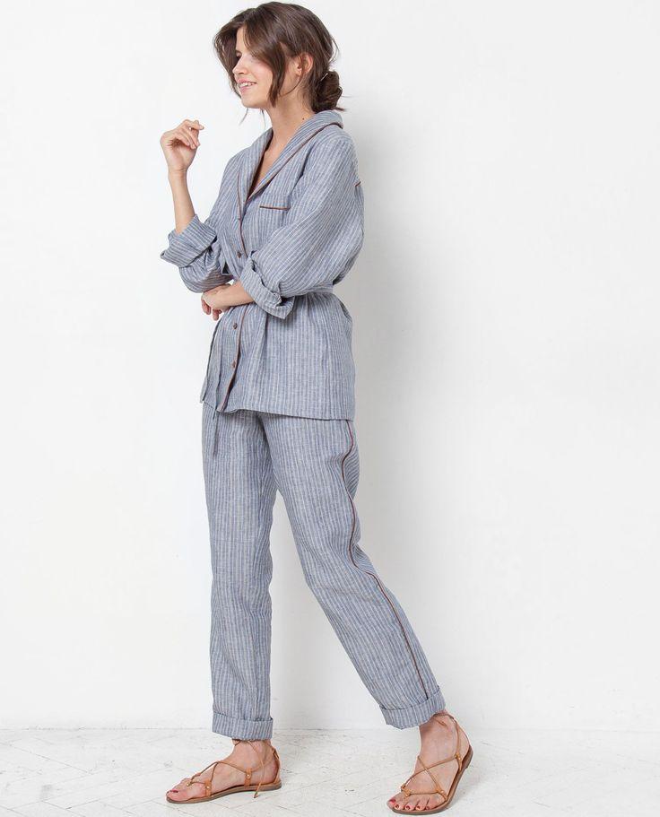 Комплект: рубашка с брюками в полоску (синий) - 12Storeez.com