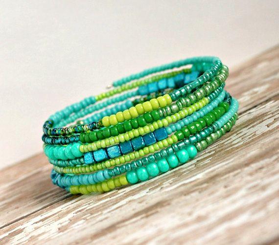 shimmering mermaid green memory wire bracelet by pixiestrinkets, $12.00
