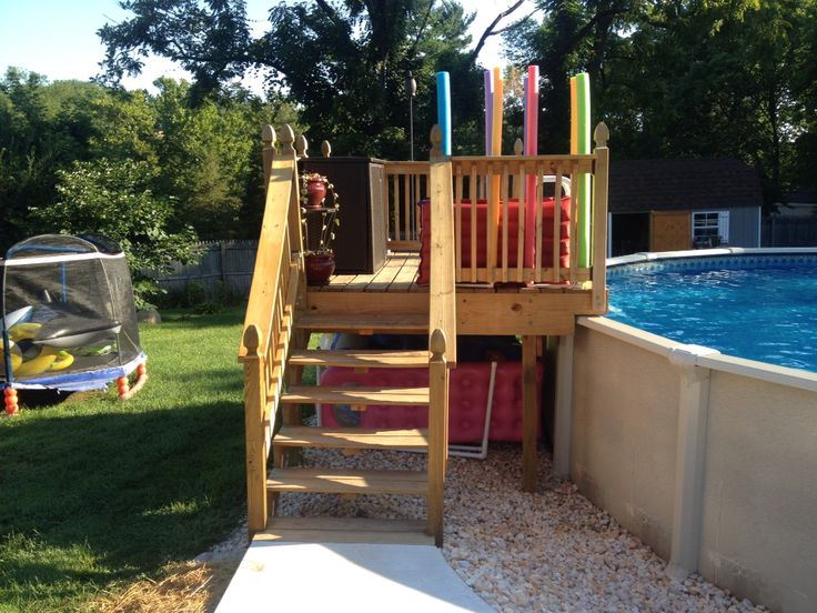 Above ground pool platform. Makes for easier access to pool and provides a place for kids to jump from.