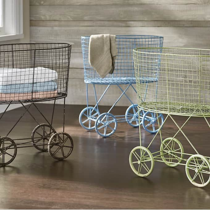 Vintage Style Rolling Laundry Cart With Images Laundry Cart
