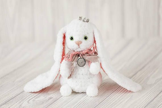 This cute plush #crochet #rabbit is made of special yarn. The rabbit kid #toy will be the most interesting gift for a child or an adult. Each toy bunny knit is unique, it can ... #etsy #animal #knit #handmade #gift #bunny