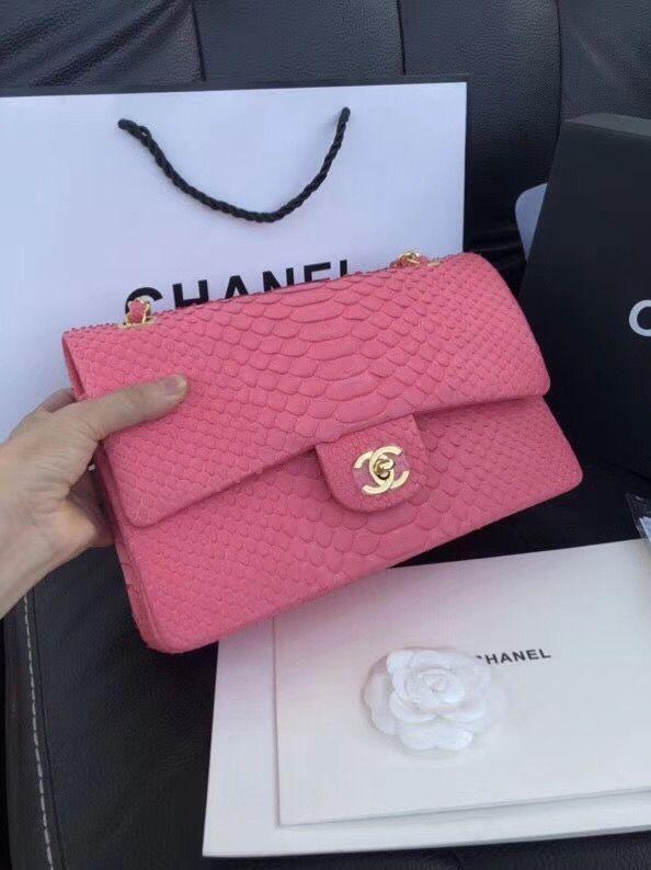 8b9664c6c43ca6 Chanel Python Leather Medium Classic Double Flap Bag Hot Pink ...