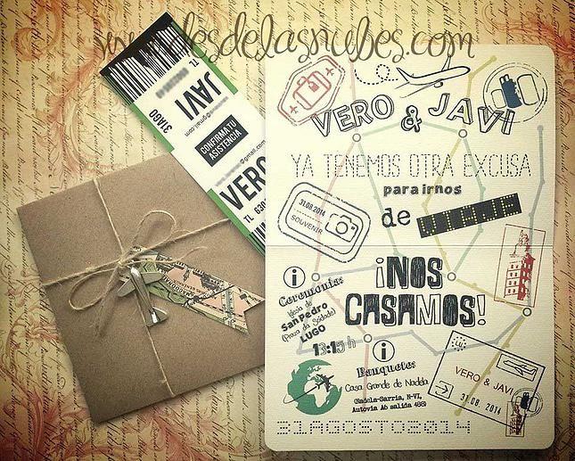 Desde las Nubes diseño gráfico y personalización de eventos | La Invitación viajera, pasaporte, avion, viajes wedding invitation, passport