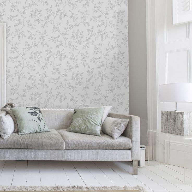 I Love Wallpaper™ Shimmer Birds Wallpaper Soft Grey (ILW980044)