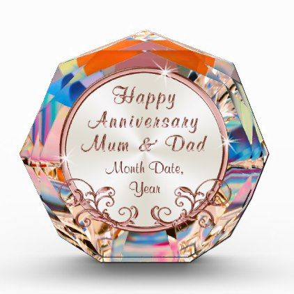Rose Gold Anniversary Presents for Mum and Dad Acrylic Award - gold wedding gifts customize marriage diy unique golden