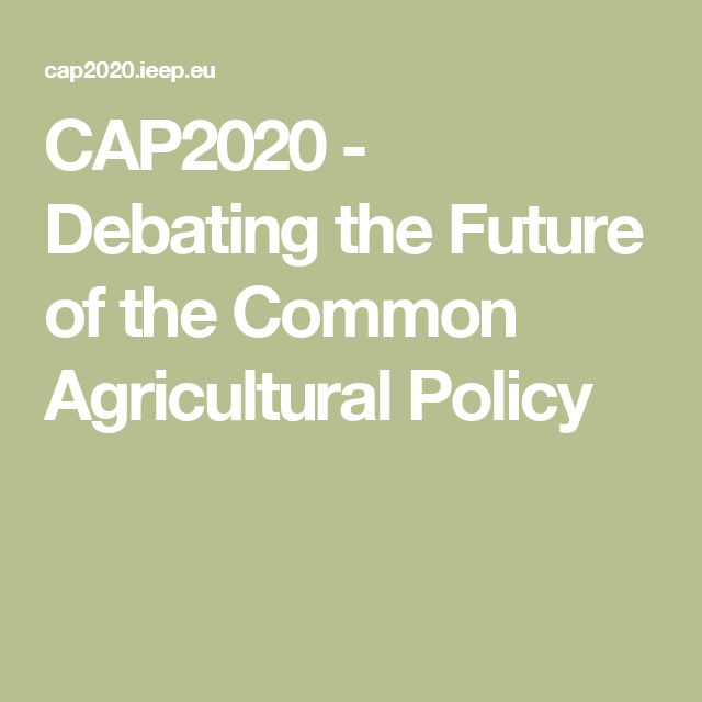 CAP2020 -  Debating the Future of the Common Agricultural Policy