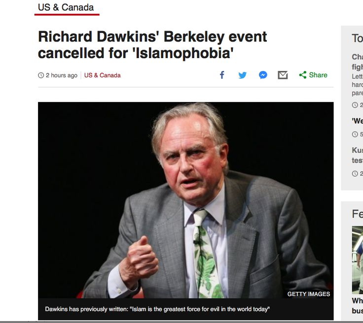 I saw him last year to celebrate 30 years of 'The Selfish Gene'. Just voted best science book by Royal Society. He makes the very clear distinction between 'Islam' the faith and 'Islamism'. In any event, if you disagree with him, and many do, then debate the points. This 'safe space' rubbish drives me mad. Anyway, I got signed copies of 'The Selfish Gene' and 'The God Delusion'. HL