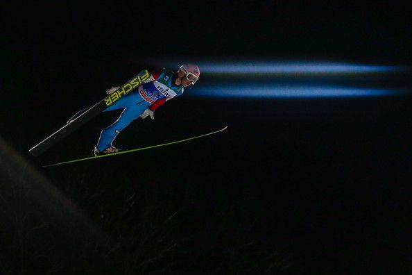 Stefan Kraft of Austria takes 1st place during the FIS Ski Jumping World Cup Vierschanzentournee (Four Hills Tournament) on January 06, 2015 in Bischofhofen, Austria. (January 5, 2015 - Source: Stanko Gruden/Agence Zoom/Getty Images Europe)
