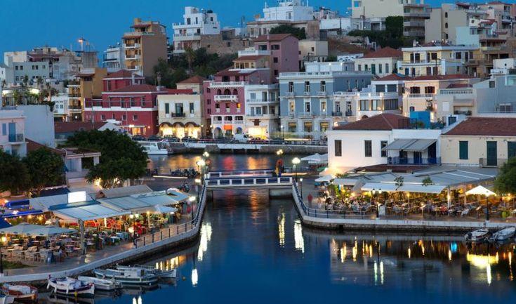 Agios Nikolaos in Crete at night