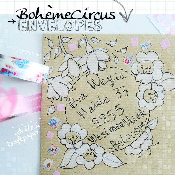 Kraft and Flowers - Bohème Circus envelopes - white ink on brown envelopes