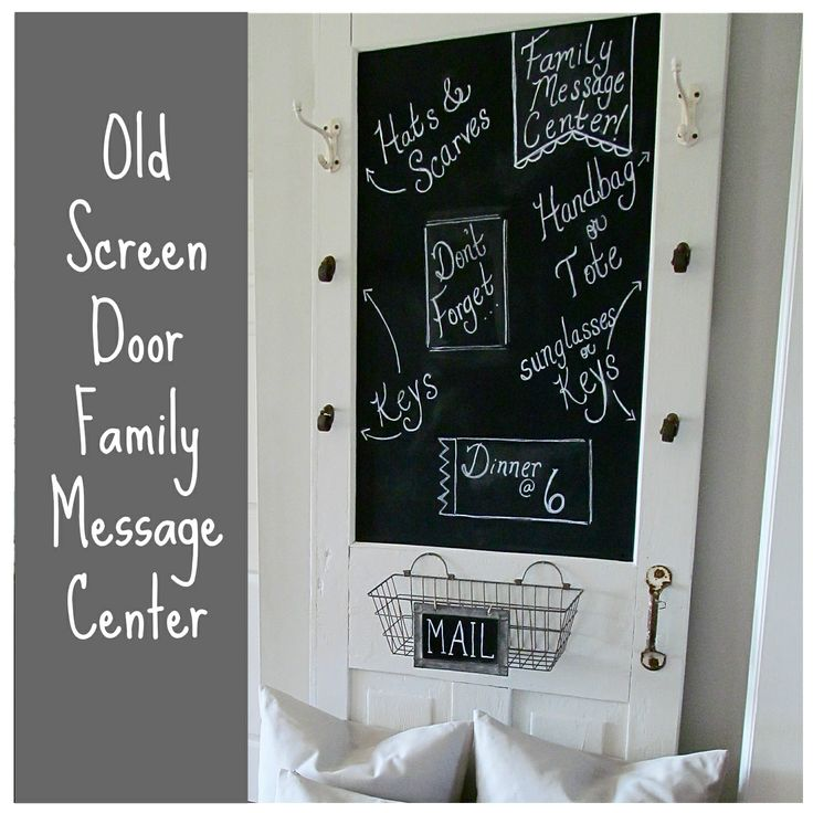 Turn an Old Screen Door into a Family Message Center or front a cabinet with it.