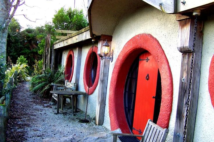 Hobbit Hotel in New Zealand. Guests can choose from four unique overnight lodging experiences: plane, train, boat and hobbit.