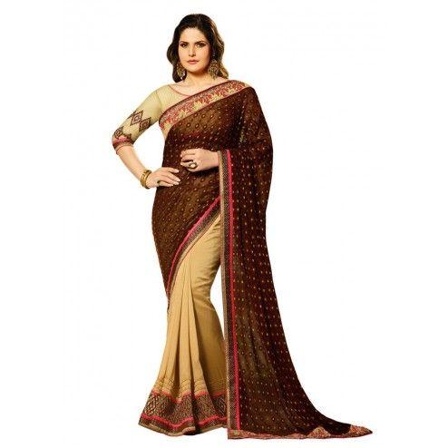 Zarine Khan Brown & Beige Brasso Georgette Saree#saree #sarees #designersaree #indianfashion #partywear #onlineshopping