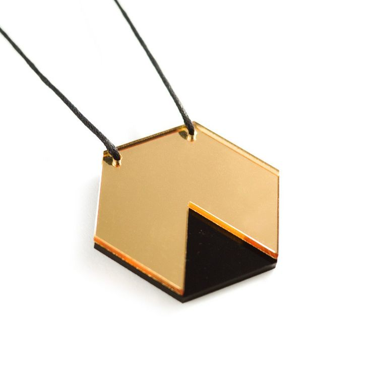 Amindy  - GEO - Hexagon Necklace - Gold Mirror and Black - $30 - Shop online at www.amindy.com.au