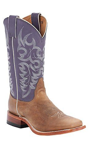 Nocona® Ladies Tan Arizona Cow w/ Grape Top Square Toe Western Boots | Cavender's Boot City