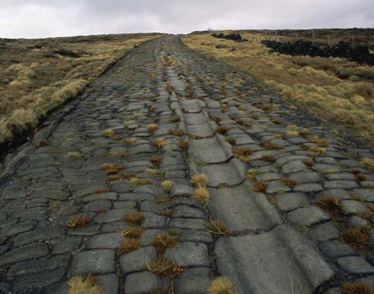 One of the finest examples of a surviving Roman road in Britain, Blackstone Edge, on Rishworth Moor near Manchester.