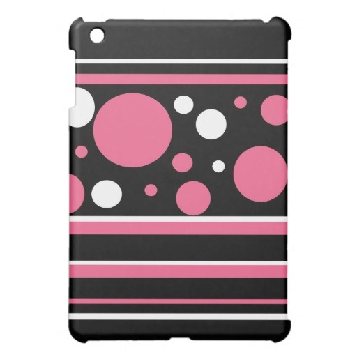 Cute Pink Black White Stripes Polka Dots Pattern iPad Mini Covers