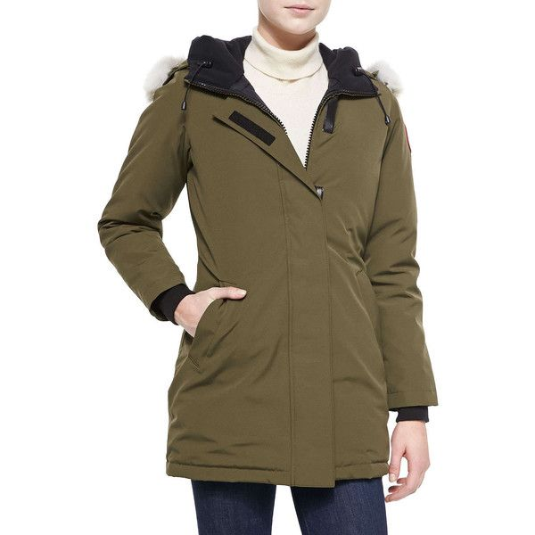 Canada Goose Victoria Fur-Hood Parka Jacket ($745) ❤ liked on Polyvore featuring outerwear, jackets, quilted jacket, canada goose parka, fur trim hooded parka, hooded bomber jacket y hooded jacket