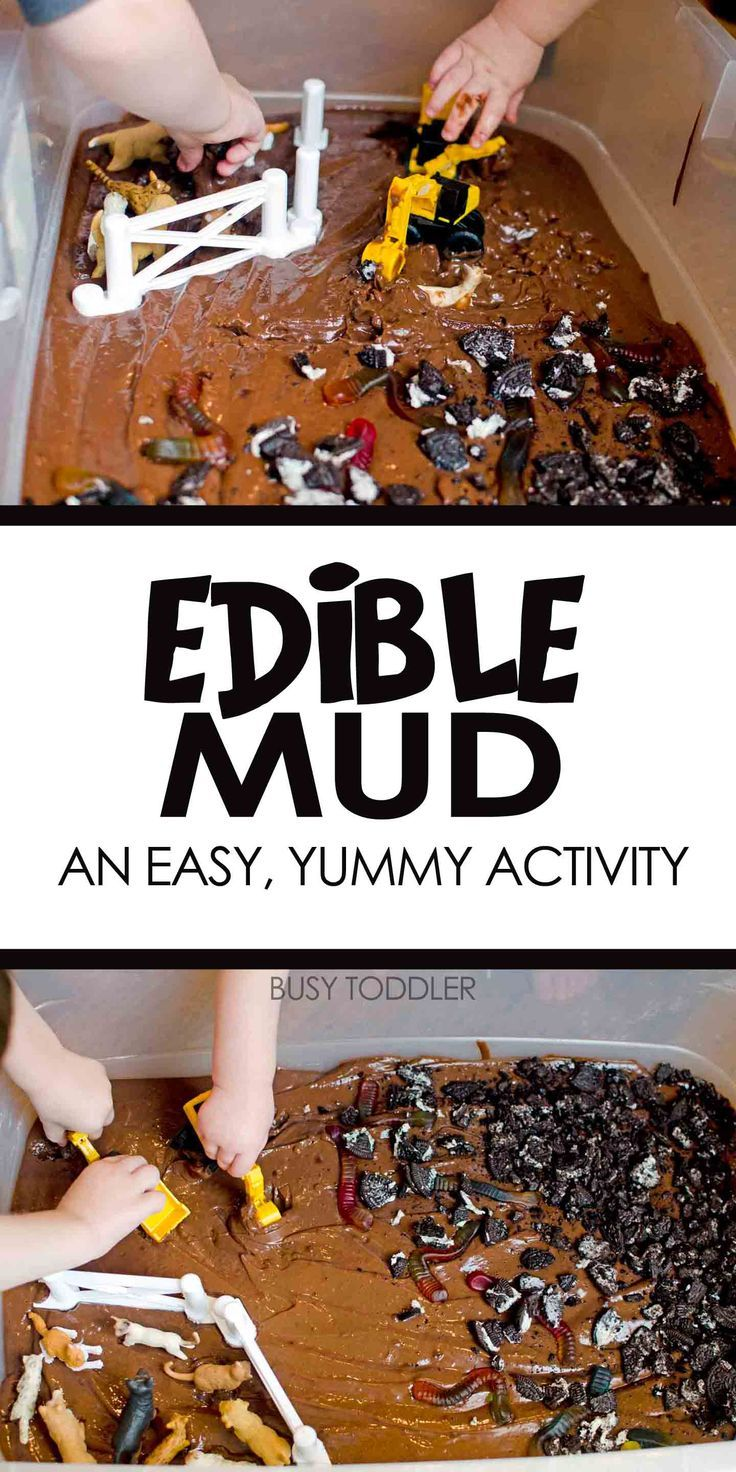 Edible Mud Sensory Play: Have some messy sensory fun with this easy toddler activity; play with edible mud for a fun; host a messy play date for friends