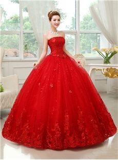 ファンシーストラップレス床の長さの赤の夜会服のウェディングドレス