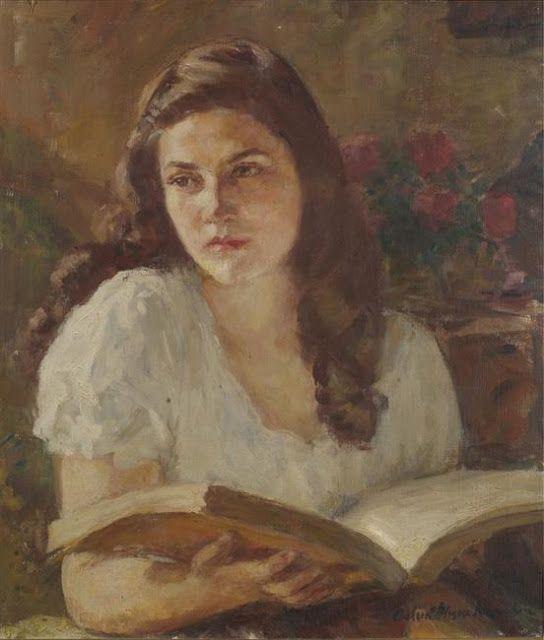 Θάλεια Φλωρά Καραβία (Thalia Flora Karavia. Greek painter.1871-1960). Κοπέλα που διαβάζει. Εθνική Πινακοθήκη (National Gallery of Art. Athens).