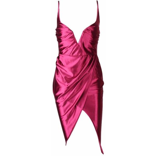CHERRY Cerise Satin Plunge Cami Dress ($39) ❤ liked on Polyvore featuring dresses, pink cami dress, cherry dress, camisole dress, pink dress and pink cami